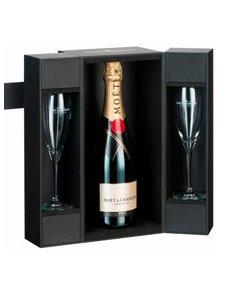 Moët & Chandon Brut Impérial in Luxe coffret + 2 flutes 75CL