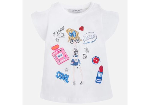 Mayoral T-shirt with open shoulder and glitter