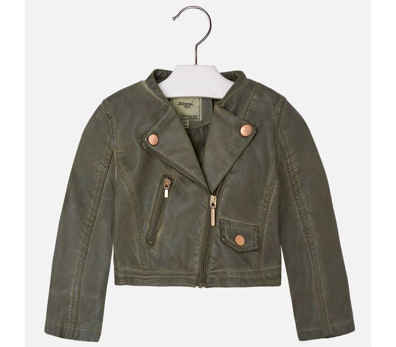 Jacket with leather zipper