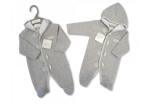 Nursery Time Soft gray quilted boxed suit with foot and hood