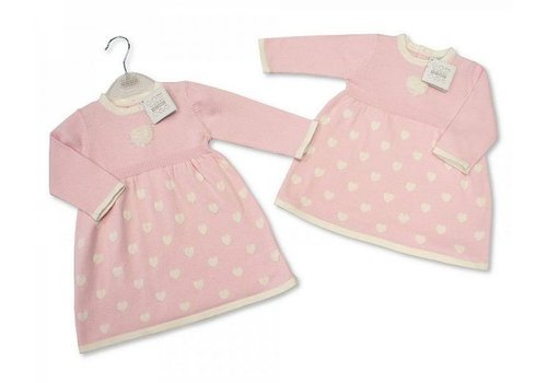 Nursery Time Soft pink dress with heart and hearts