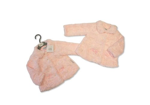 Nursery Time Cute soft pink jacket, lined feels very soft, with pockets with a bow on it