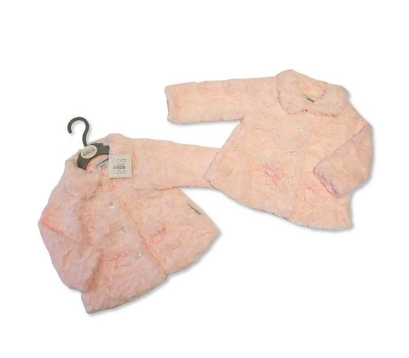 Cute soft pink jacket, lined feels very soft, with pockets with a bow on it