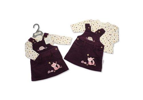 Nursery Time Bordeaux rib jurkje met shirt