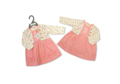 Nursery Time Soft pink rib dress with fixed open cardigan
