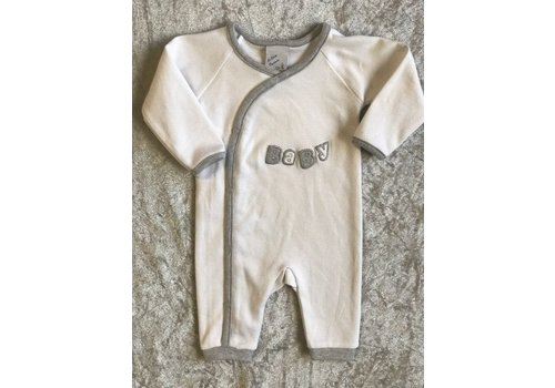 LPC Romper white with print BABY in Silver