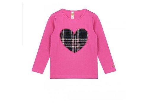 Vinrose T-shirt met lange mouw met hart opdruk geruit