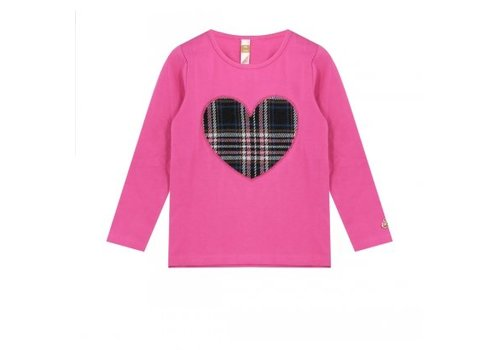 Vinrose T-shirt with long sleeves with heart print checkered