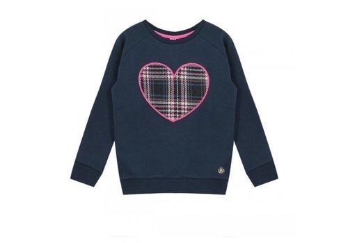 Vinrose Sweater met lange mouw marine blauw met hart opdruk in ruit
