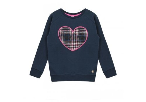 Vinrose Sweater with long sleeve navy blue with heart print in diamond