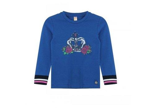 Vinrose T-shirt lange mouw kobaltblauw met opdruk kroon & roos