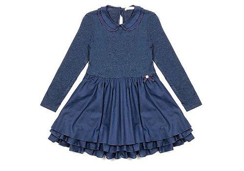 Lialea Lialady Dunkelblaues Kleid mit langen Ärmeln