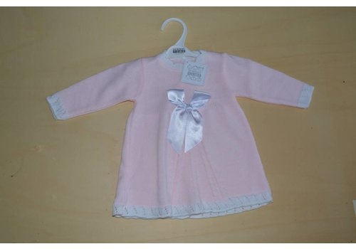 Nursery Time Pink baby dress with long sleeves and a bow
