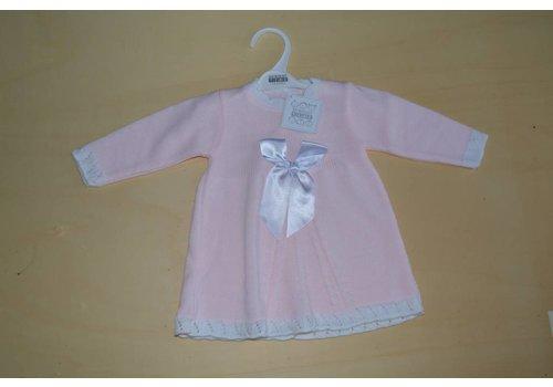 Nursery Time Roze babyjurkje met lange mouwen en een strik