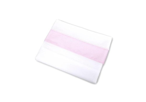 Cradle sheet with fitted sheet Charlotte pink checkered edge