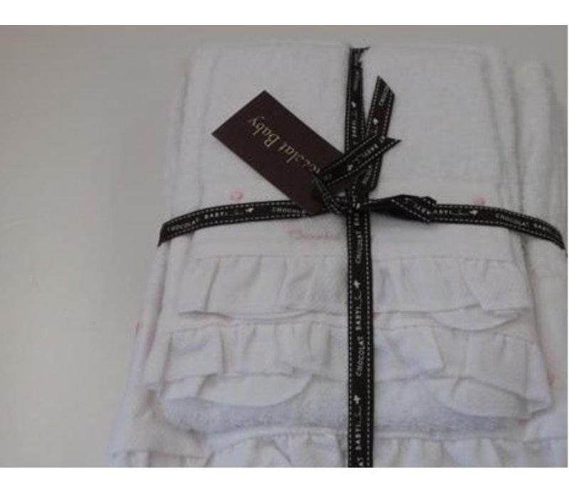 Handdoekenset wit roze stip