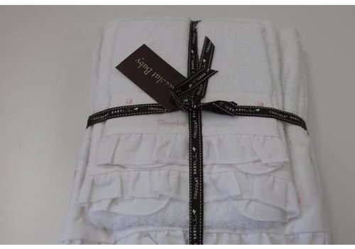 Chocolate baby Towel set white with beige dot