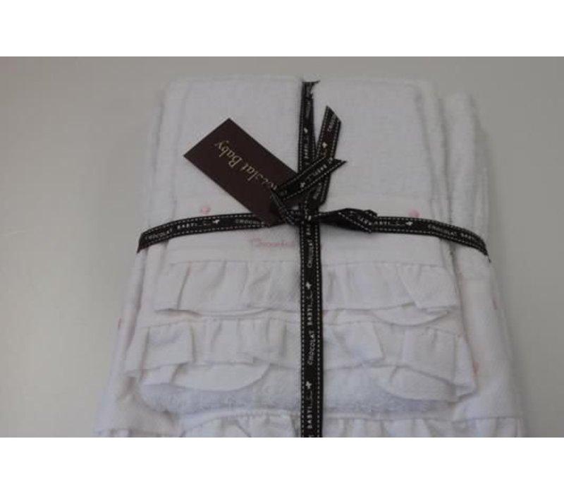 Handdoekenset wit met  beige stip