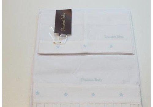 Chocolate baby Handdoekenset wit met licht blauwe geborduurde stip
