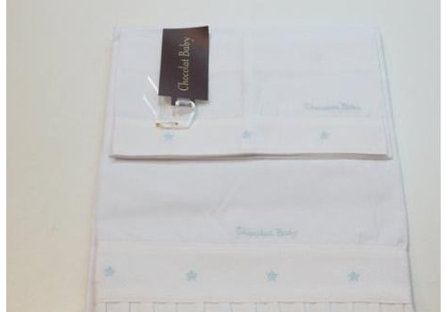 Chocolate baby Towel set white with light blue embroidered dot