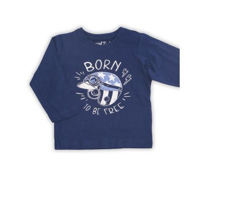 Shirt boy blauw met opschrift