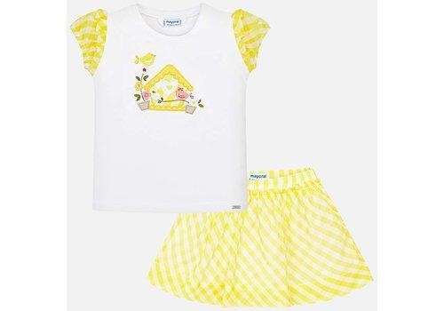 Mayoral Schattig  geel/wit meisjessetje, rok met shirt.