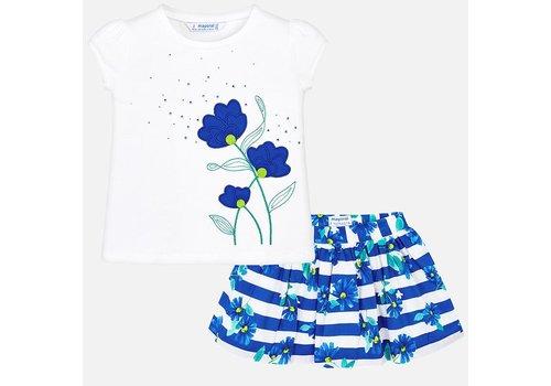 Mayoral Nettes Mädchenset, Blau und Weiß floral.