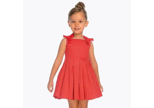 Mayoral Beautiful dress red with white dots
