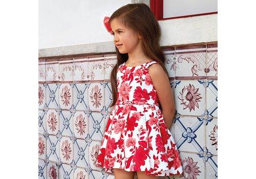 Mayoral Mooie rood/wit gebloemde jurk.