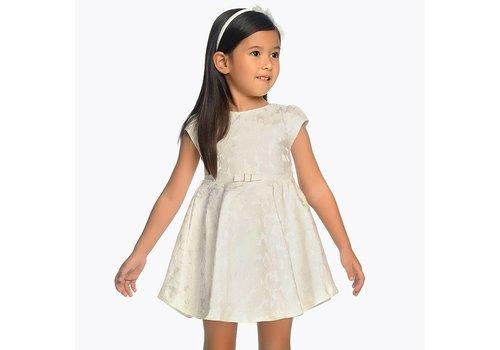 Mayoral Mooie naturel jurk, in jacquard stof.