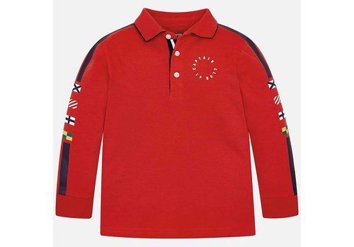 Mayoral Sporty red polo with long sleeve.