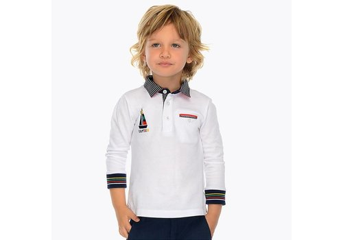 Mayoral Sporty white polo with long sleeves.