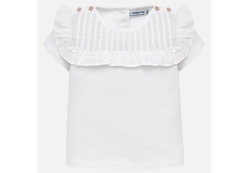Mayoral T-shirt wit met gouden knoopjes