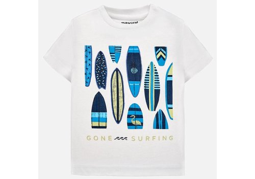 Mayoral Wit t-shirt met aqua blauw