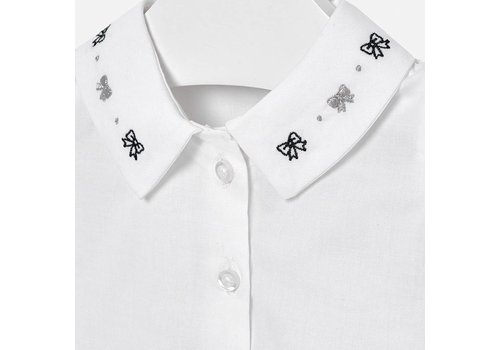 Mayoral Mayoral witte blouse met gewerkt kraagje
