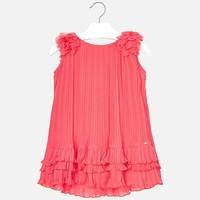 Geplooide jurk coral kleur