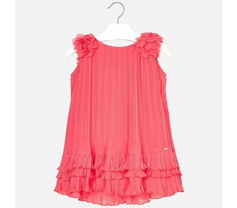 Pleated dress coral color