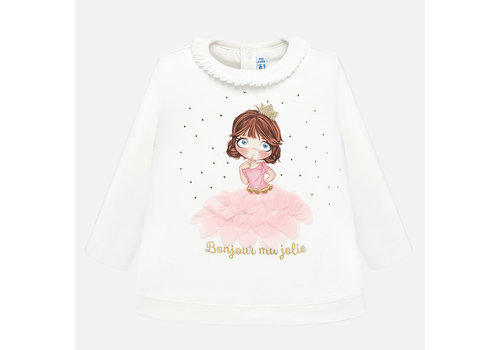 Mayoral Mayoral off-white meisjesshirt met prinses applicatie