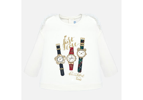 Mayoral Mayoral  off-white meisjesshirt met horloge's applicatie.