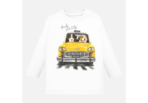 Mayoral Mayoral off-white jongensshirt met Taxi applicatie.