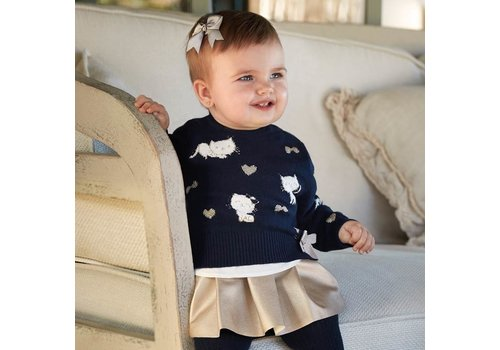 Mayoral Beautiful dark blue knitted sweater with nice details.