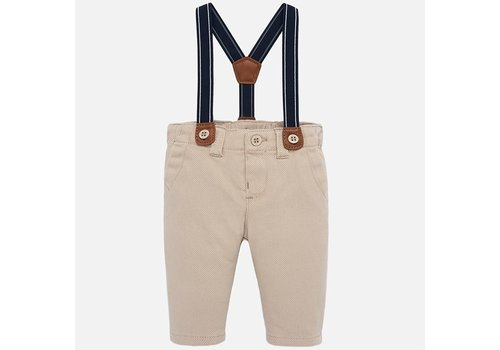 Mayoral Sand color boys' pants with suspenders.
