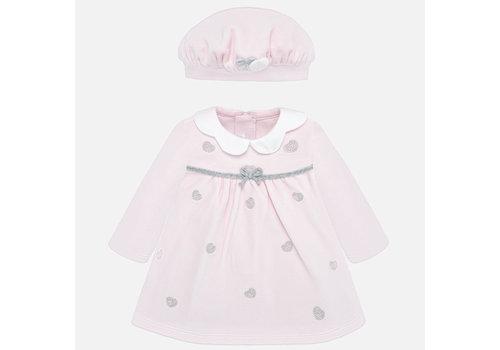 Mayoral Light pink baby dress with matching cap.