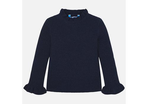 mayoral Mayoral marineblauwe pullover met ruffle mouw