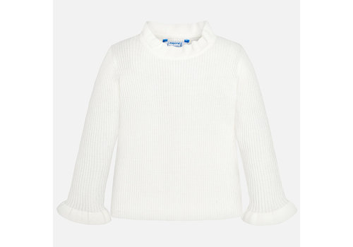 mayoral Mayoral off-white pullover met ruffle mouw
