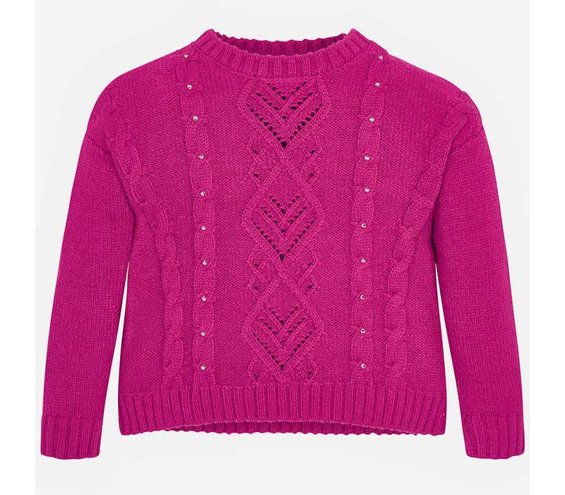 Wunderschöner Strickpullover, pink mit wunderschönem Muster und Perlen