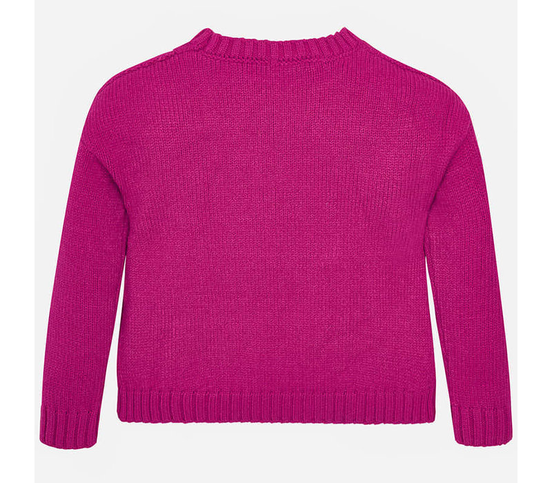 Beautiful knitted sweater, fuchsia with beautiful pattern and pearls