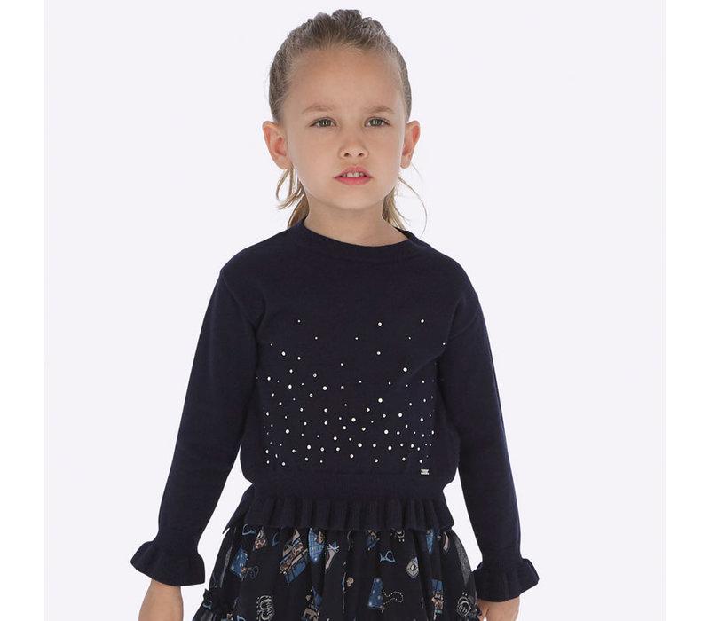 Beautiful navy blue sweater with rhinestones