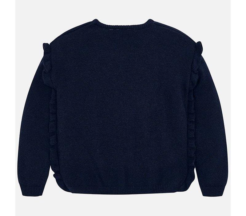 Schöne dunkelblaue Mädchen Pullover