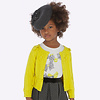 Mayoral Beautiful fine knitted yellow cardigan, with fine cables and bows
